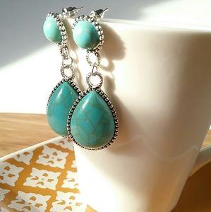 Turquoise & Silver Stud Teardrop Post Earrings